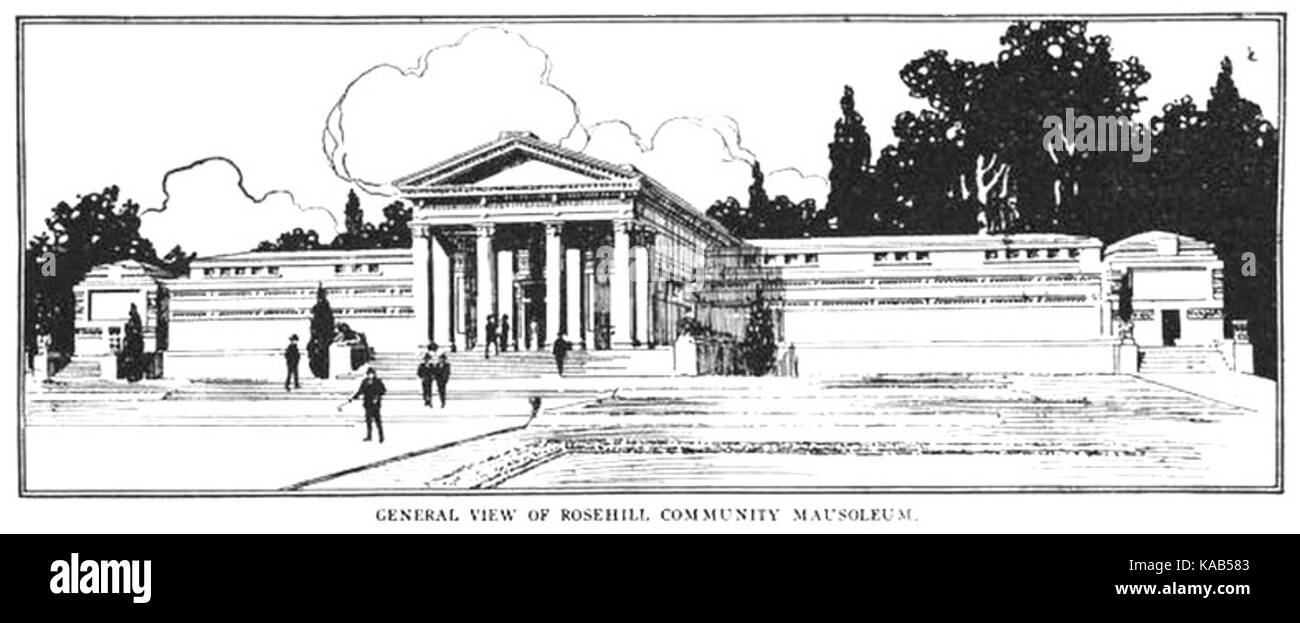 Rosehill Mausoleum   line drawing - Stock Image