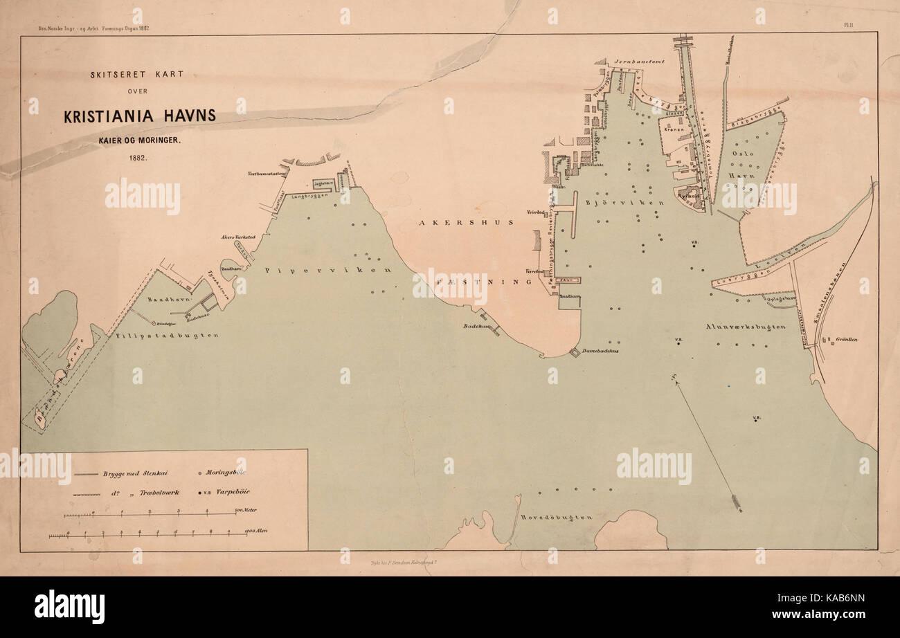 Skitseret Kart Over Christiania Havns Kaier Og Moringer No Nb Krt
