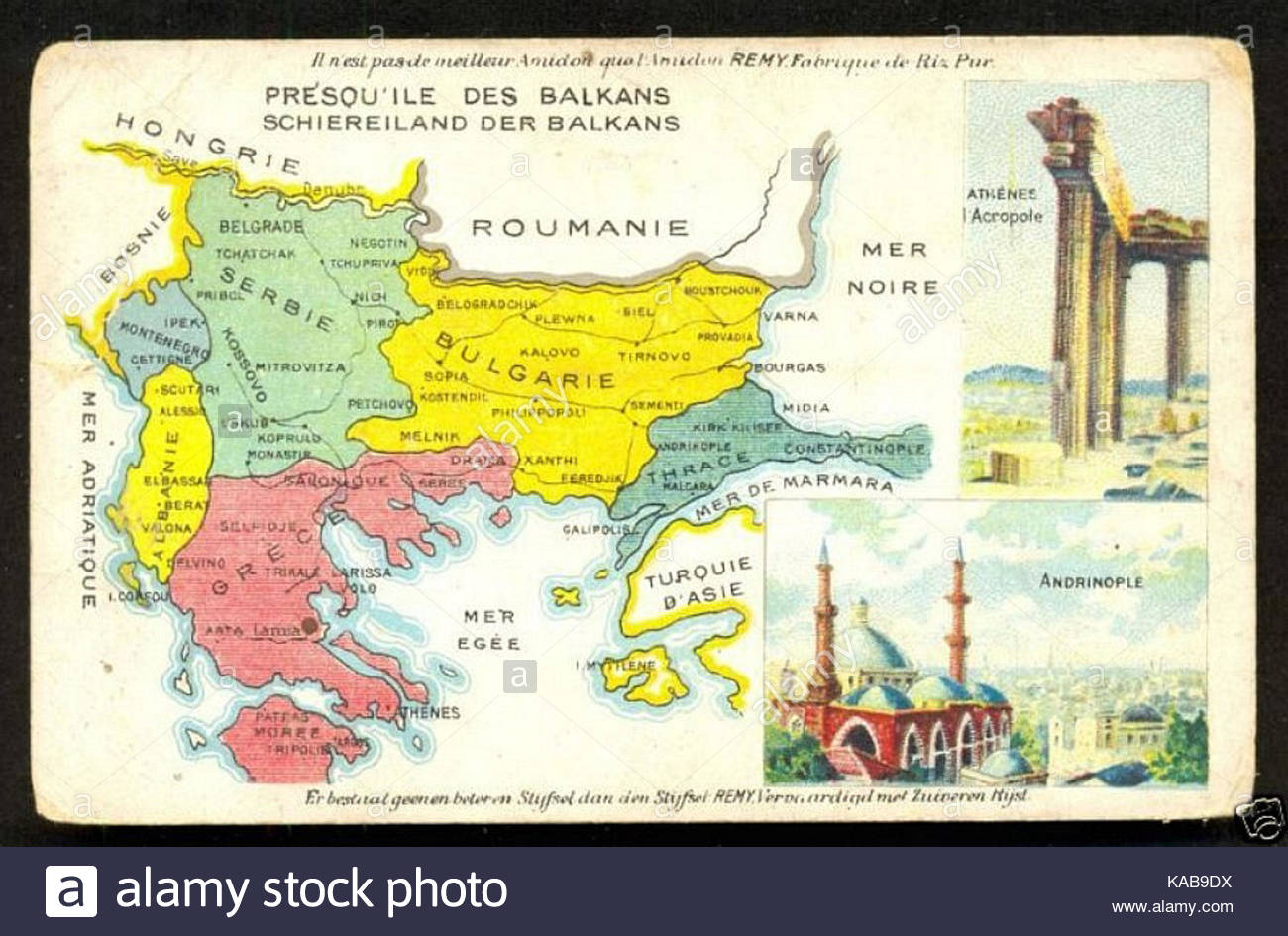 The Balkans, as per the Treaty of Bucharest of 1913 - Stock Image