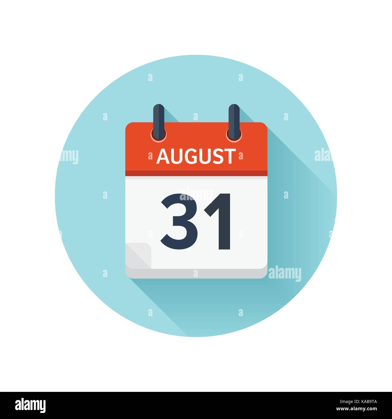 August 31  Vector flat daily calendar icon  Date and time