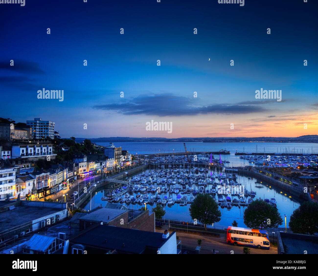 GB - DEVON: Torquay Harbour at night (HDR image) - Stock Image