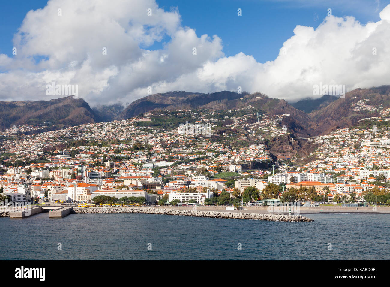 The waterfront of Funchal on the Portuguese island of Madeira. - Stock Image