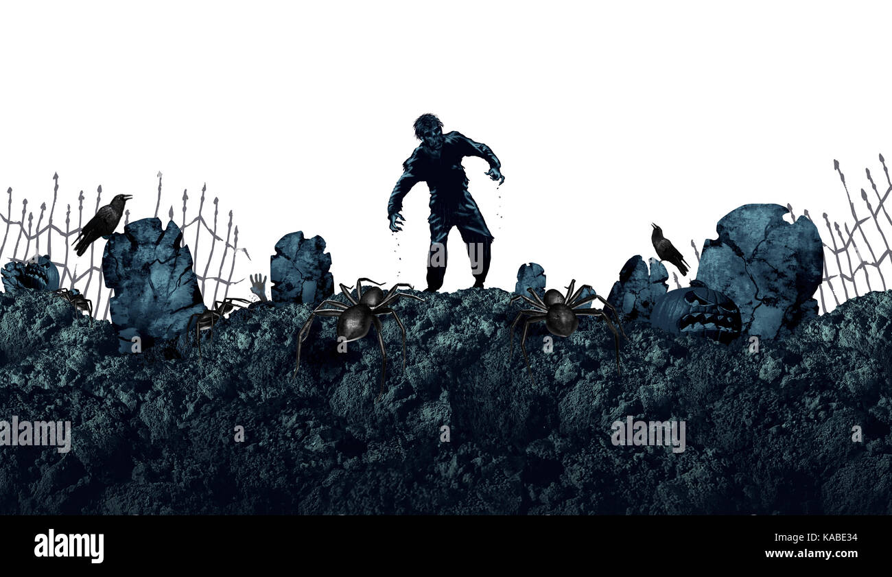 Halloween grave zombie background as a creepy walking monster in a blank area for text as a spooky dead scary ghost - Stock Image