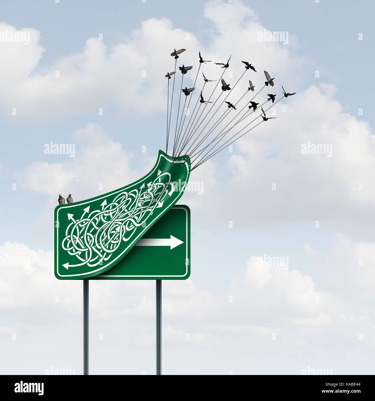 Business way concept as a group of birds lifting up a confused direction sign revealing a clear straight arrow as - Stock Image