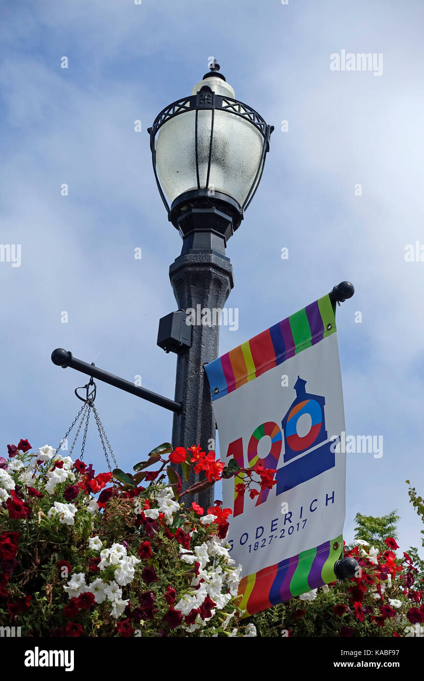 Goderich Ontario Canada Celebrates 190 Years Old A Municipal Sign On A Lamp Post Voted Prettiest Town In Canada - Stock Image