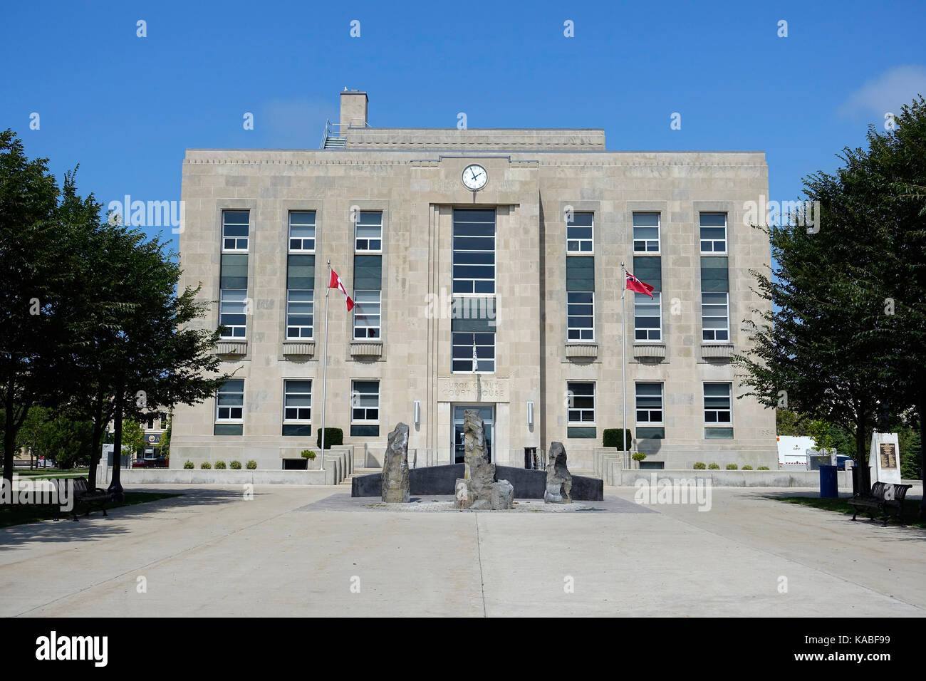 Huron County Courthouse Goderich, Ontario, Canada Voted The Prettiest Town In Canada And Home To The Largest Salt - Stock Image