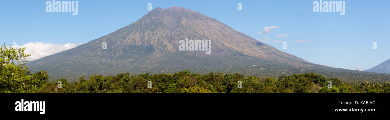 Mount Agung Volcano in Bali Indonesia Panorama. Highest peak in Bali - Stock Image