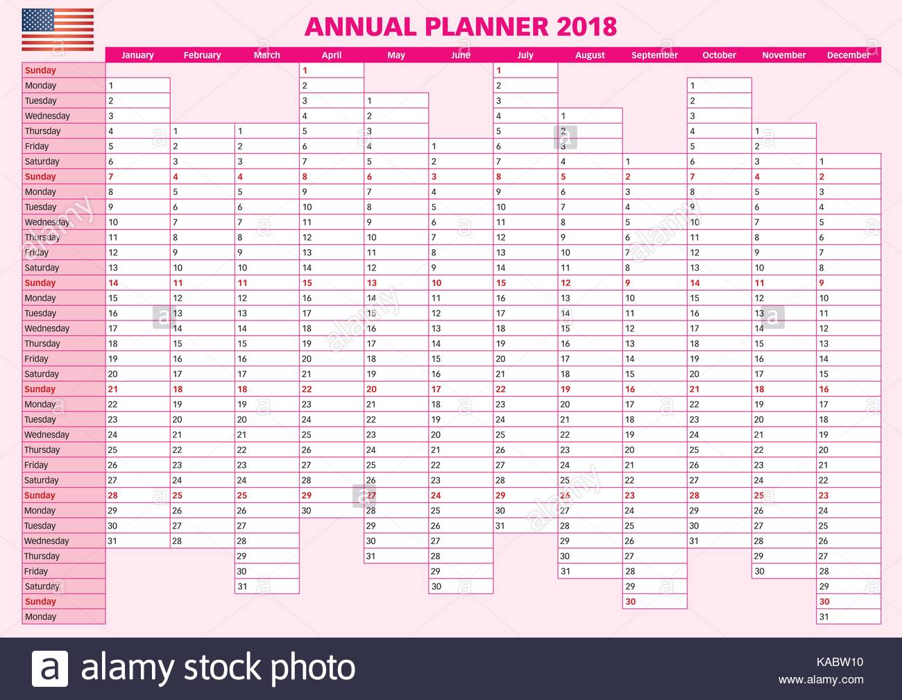 2018 Annual planner. English calendar for year 2018. Year ...