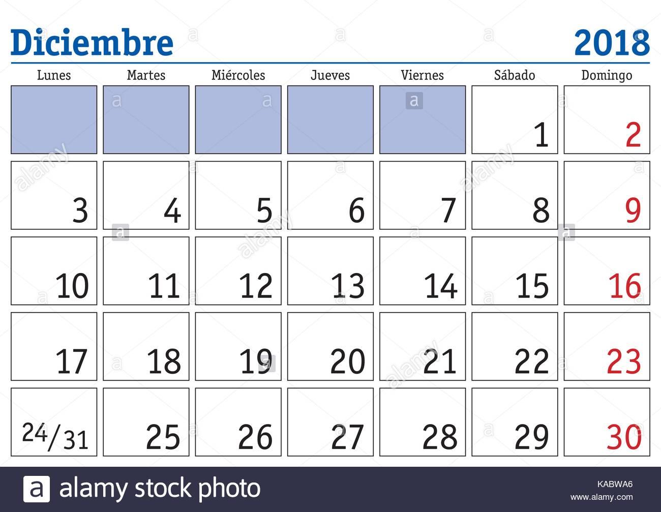 month of december 2018 calendar