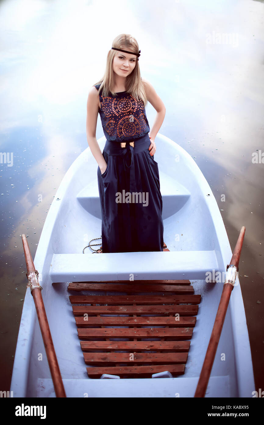 pretty woman on the boat - Stock Image