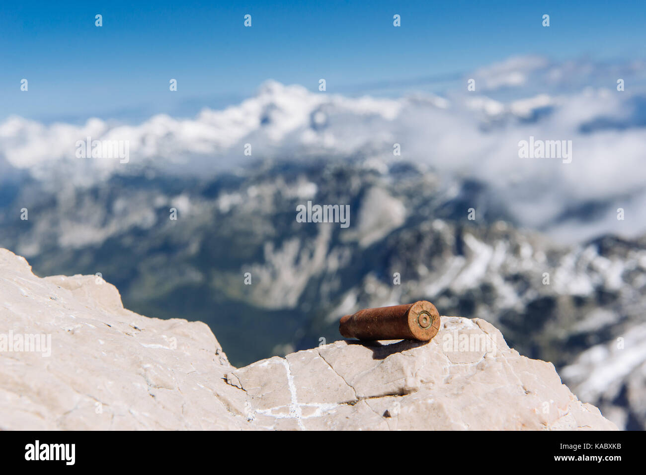 WW1 Austro Hungarian rifle cartridge marked 1914 on the summit of Mount Krn - the front line of the Isonzo Front - Stock Image