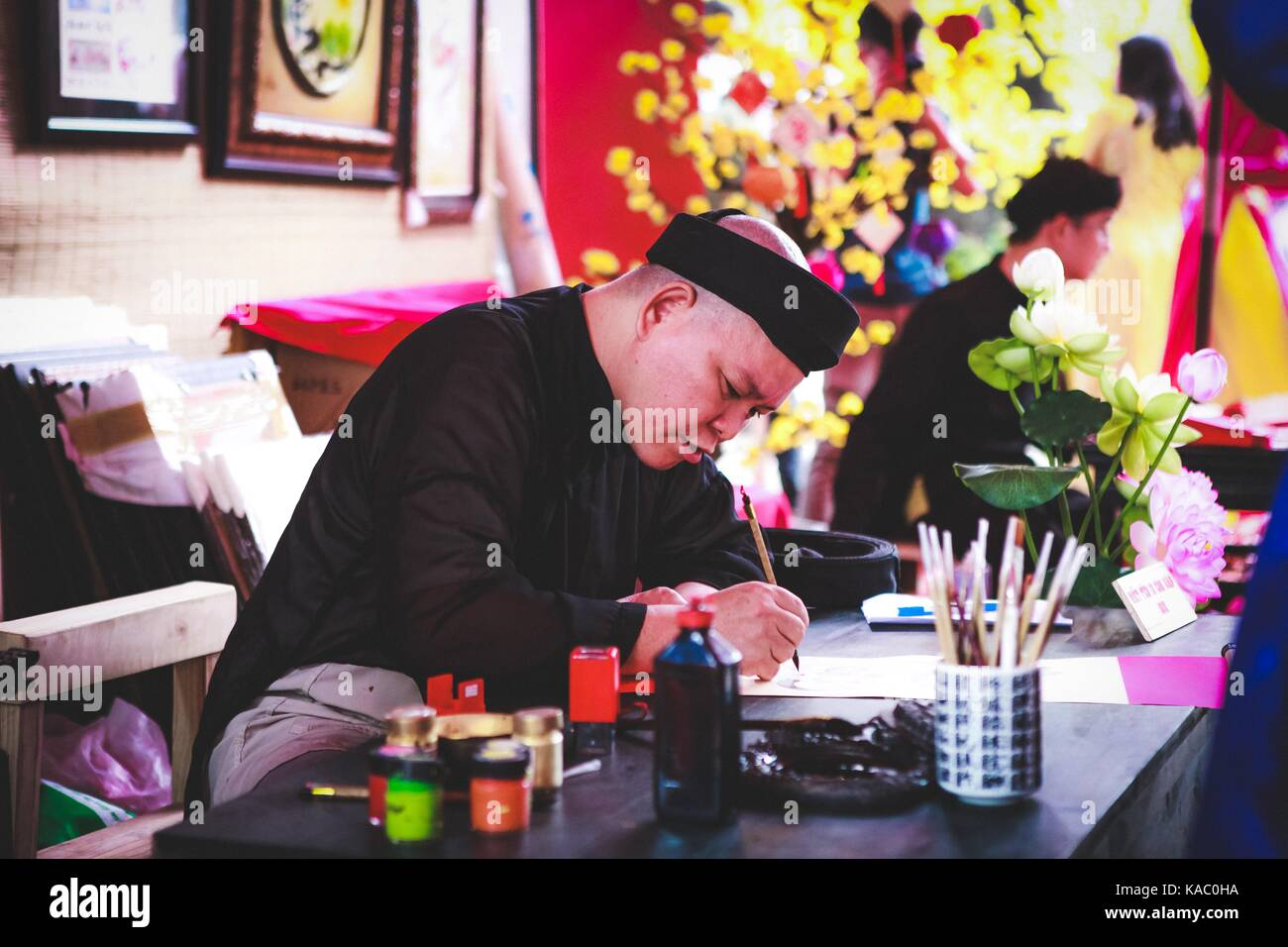 Vietnamese lunar year festival scholar. This is a tradition of the Vietnamese lunar new year - Stock Image