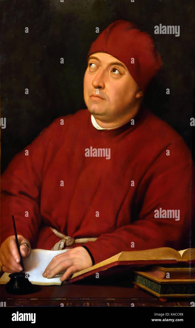 Ritratto di Tommaso Inghirami by Raffaello Santi by  Raffaello de Urbino, Rafael Sanzio de Urbino, Raffael 1483 - Stock Image