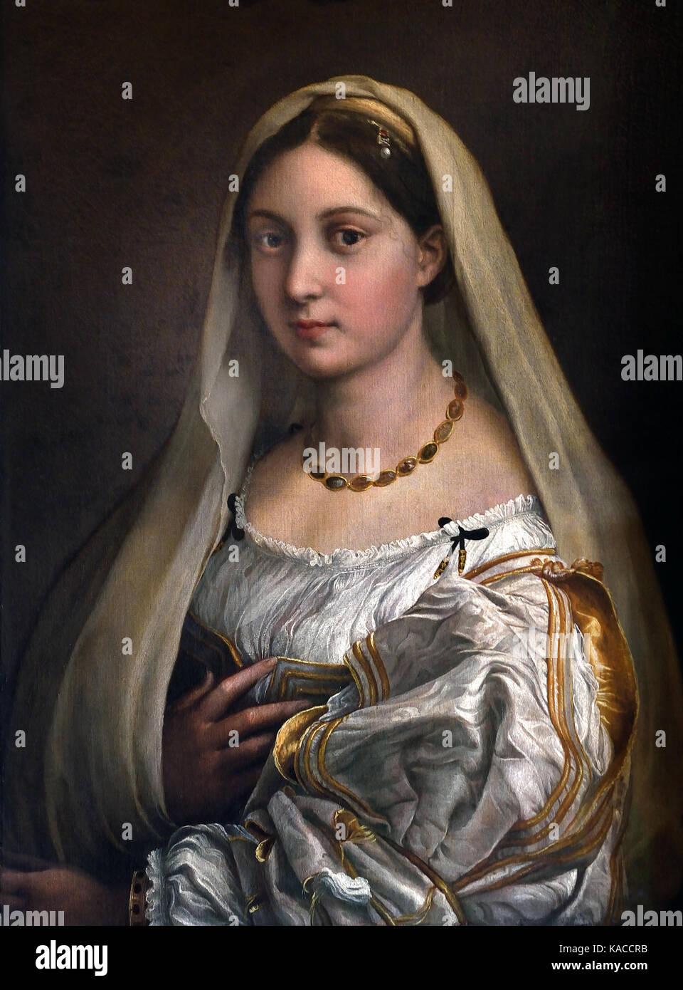 Raffaello Santi, Raffaello de Urbino, Rafael Sanzio de Urbino, Raffael 1483 - 1520 - Woman with a Veil (La Donna Stock Photo