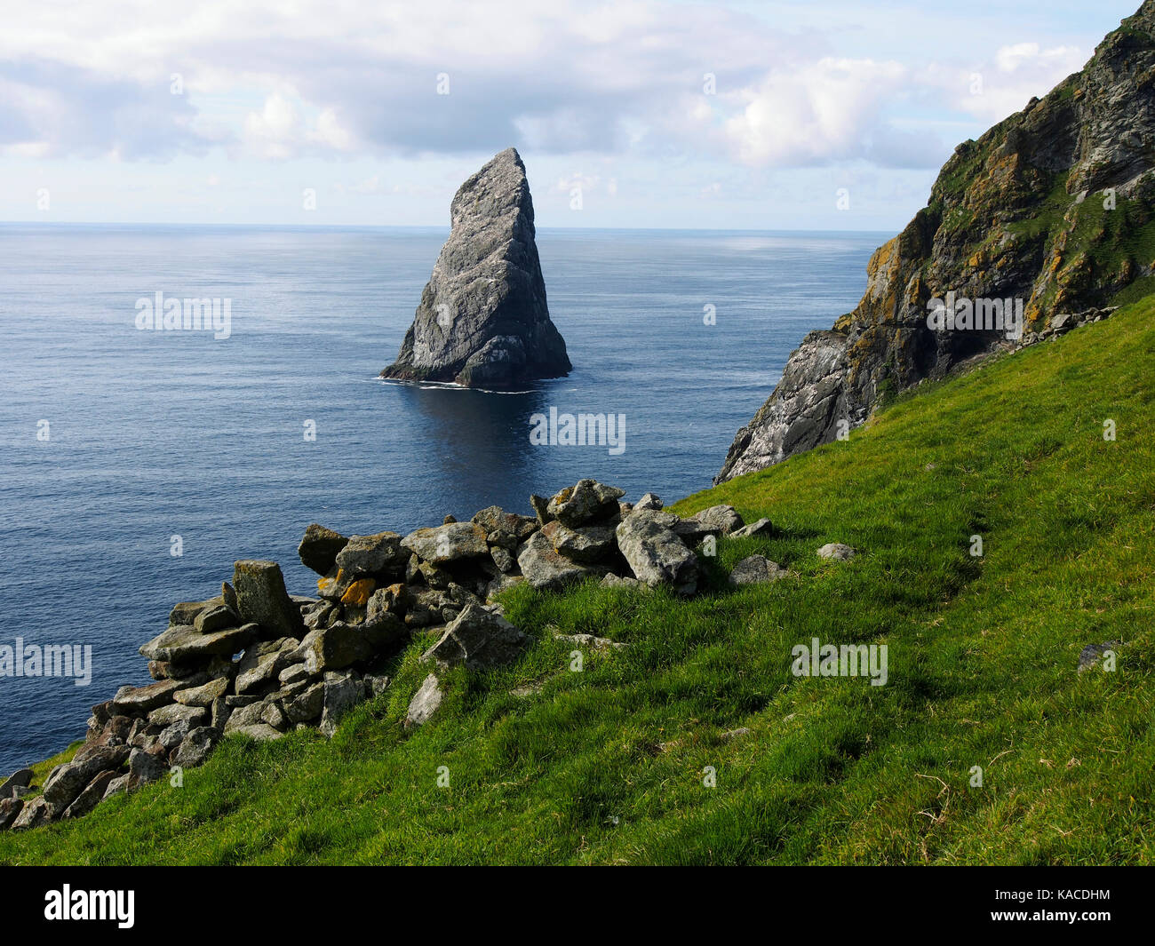 Stac Lee from Boreray, St Kilda, Scotland - Stock Image