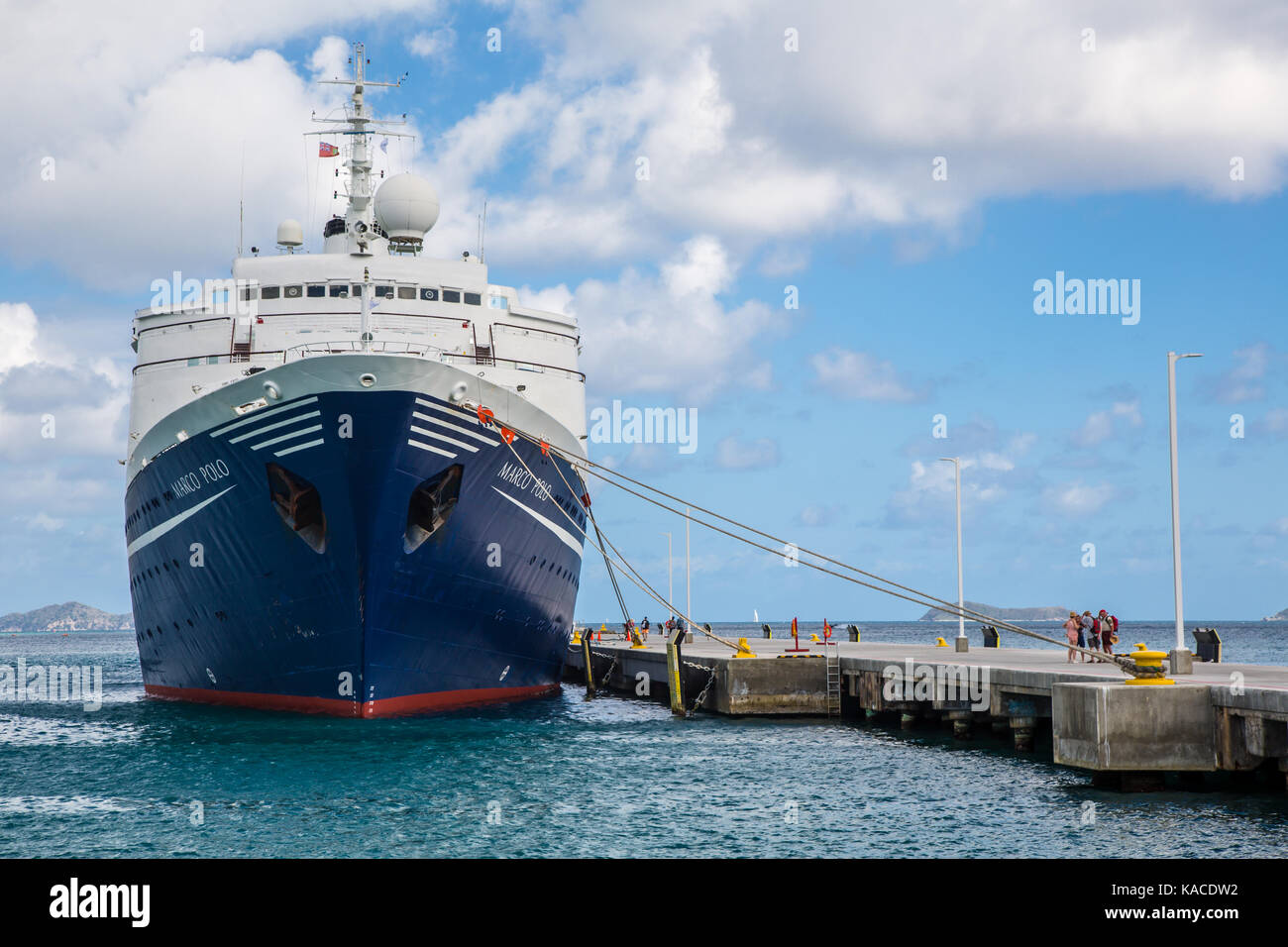 Marco Polo docked at Tortola, British Virgin Islands - Stock Image
