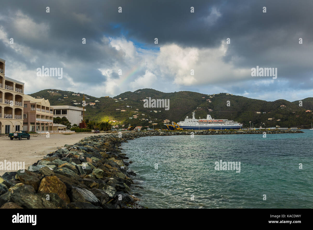 Marco Polo docked at Road Town, Tortola, British Virgin Islands - Stock Image