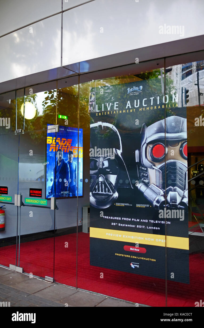 Exhibition in advance of the live auction at the BFI IMAX on 26th September 2017 of TV and movie memorabilia - Stock Image