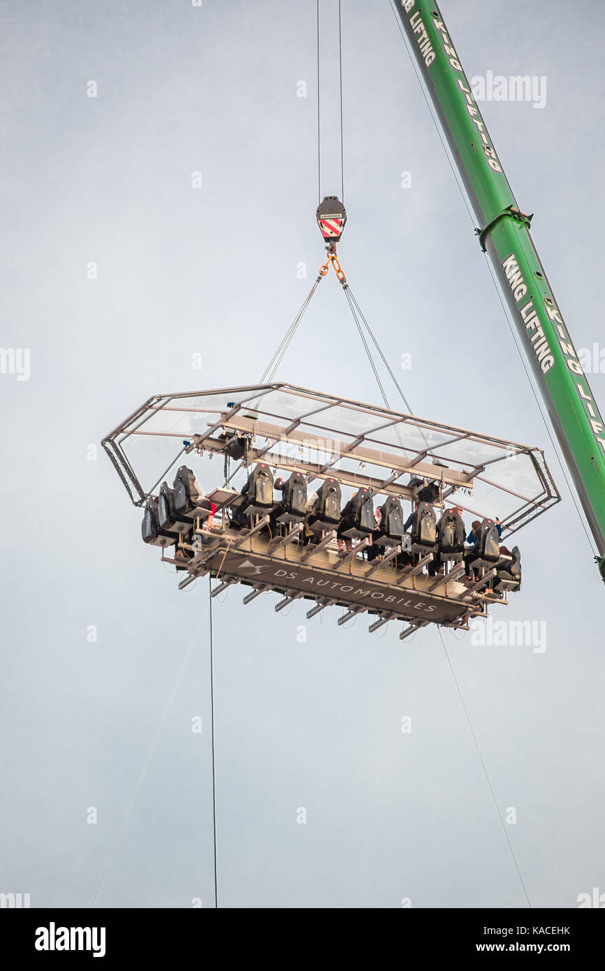 The Southampton in the Sky event in September 2017 - a sky table that seats 22 guests is being lifted over Guildhall - Stock Image