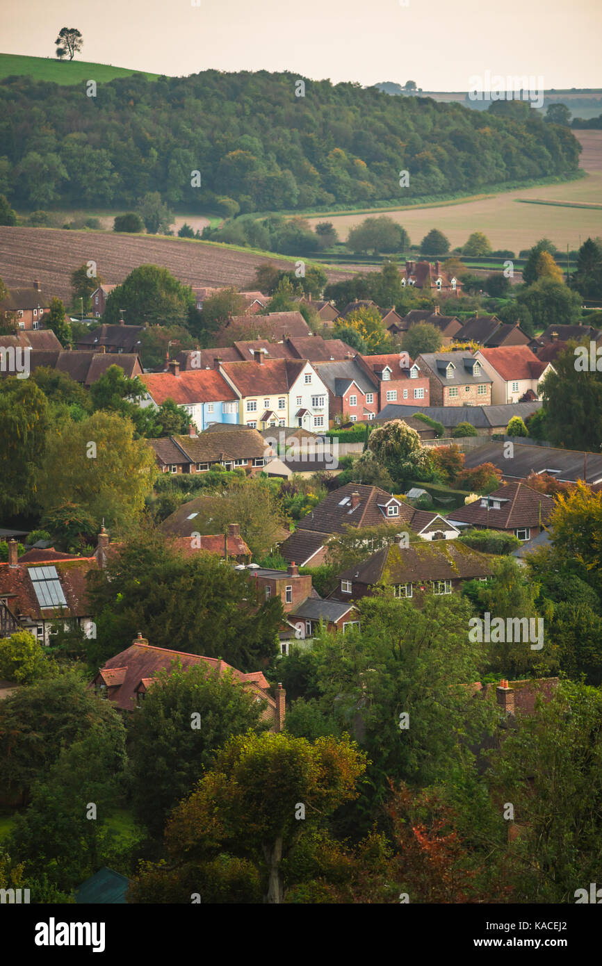 Scenic view over the quaint village East Meon during autumn in Hampshire, England, UK - Stock Image