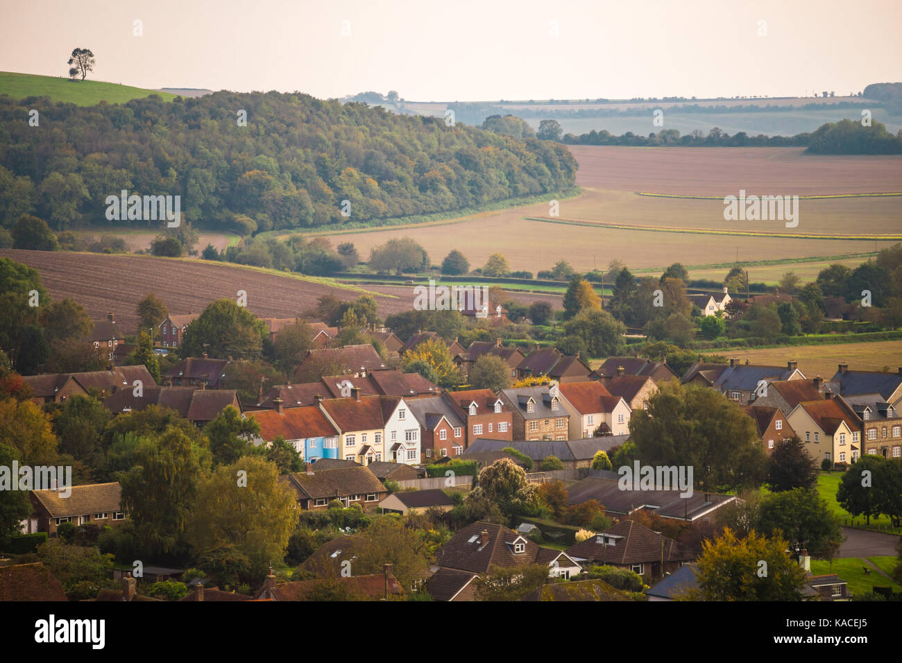 Scenic view over the quaint village of East Meon during autumn in the South Downs, Hampshire, England, UK - Stock Image