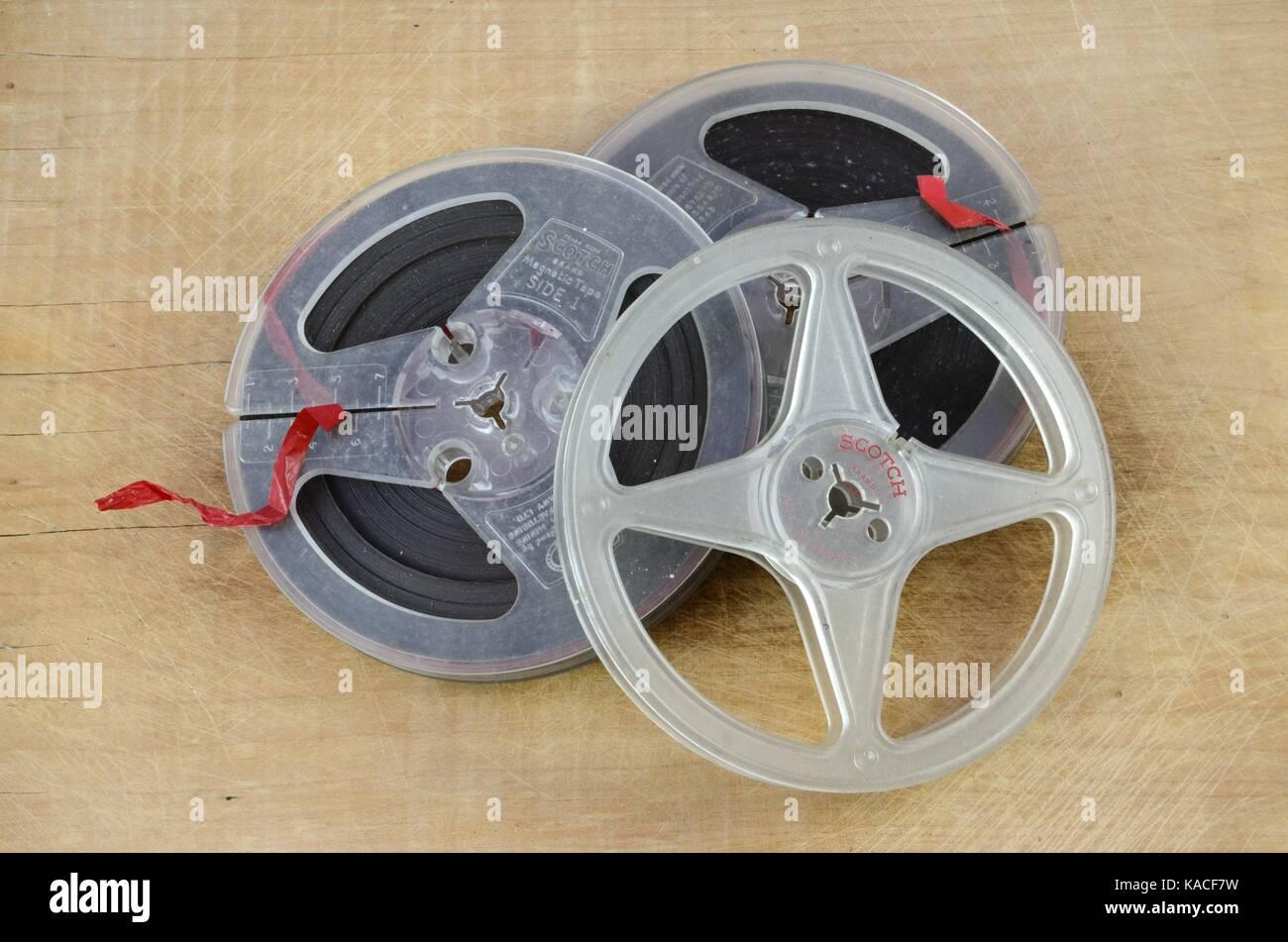 Retro reel to reel sound recording tape Stock Photo