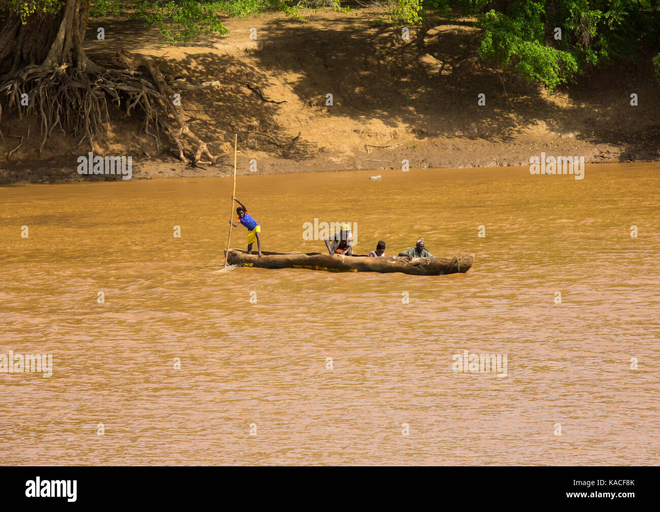 On the banks of the Omo River, Omorate , Omo Valley, Ethiopia - Stock Image