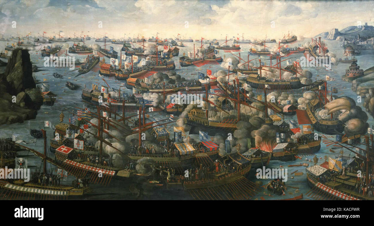 The Battle of Lepanto in 1571 prevented the Ottomans from expanding further (near-contemporary painting by an unknown - Stock Image