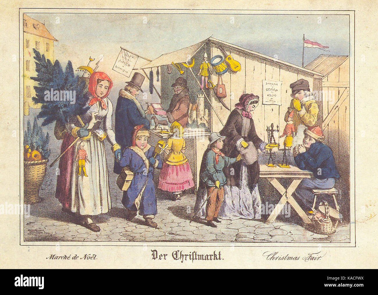 Christmas Market in Nürnberg, lithography from the 19th century. - Stock Image