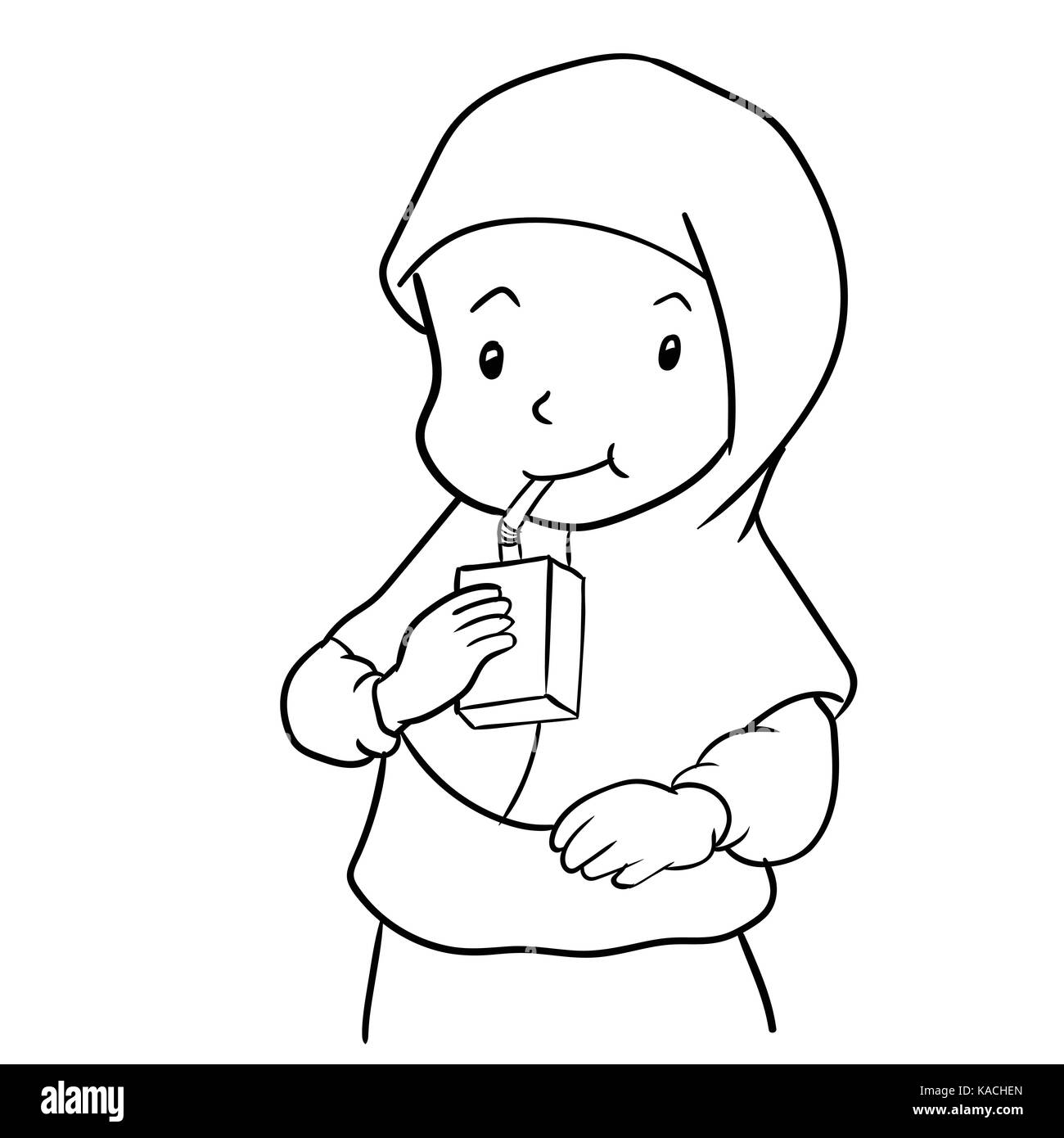 Hand drawing of muslim girl drinking milk isolated on white