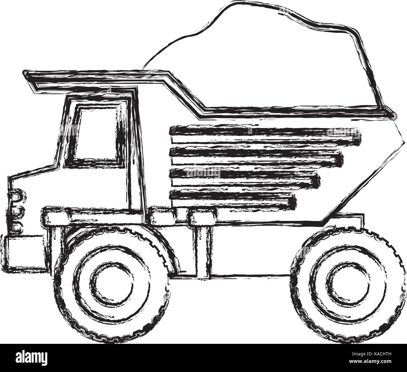 dump truck with load in monochrome blurred silhouette - Stock Vector