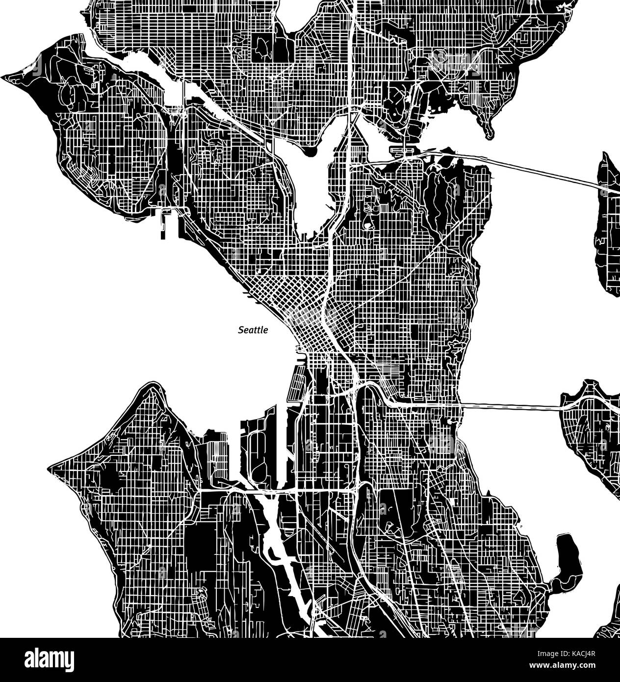 Seattle, Washington. Downtown vector map. City name on a separate ...