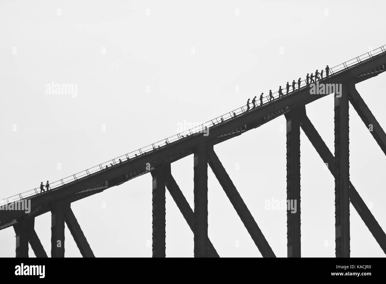 People on Harbour Bridge - Stock Image