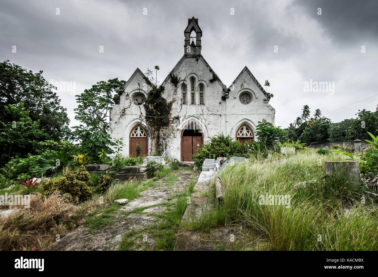 Derelict St Joseph's Parish Church in Barbados which suffered structural damage as a result of land slippage and Stock Photo