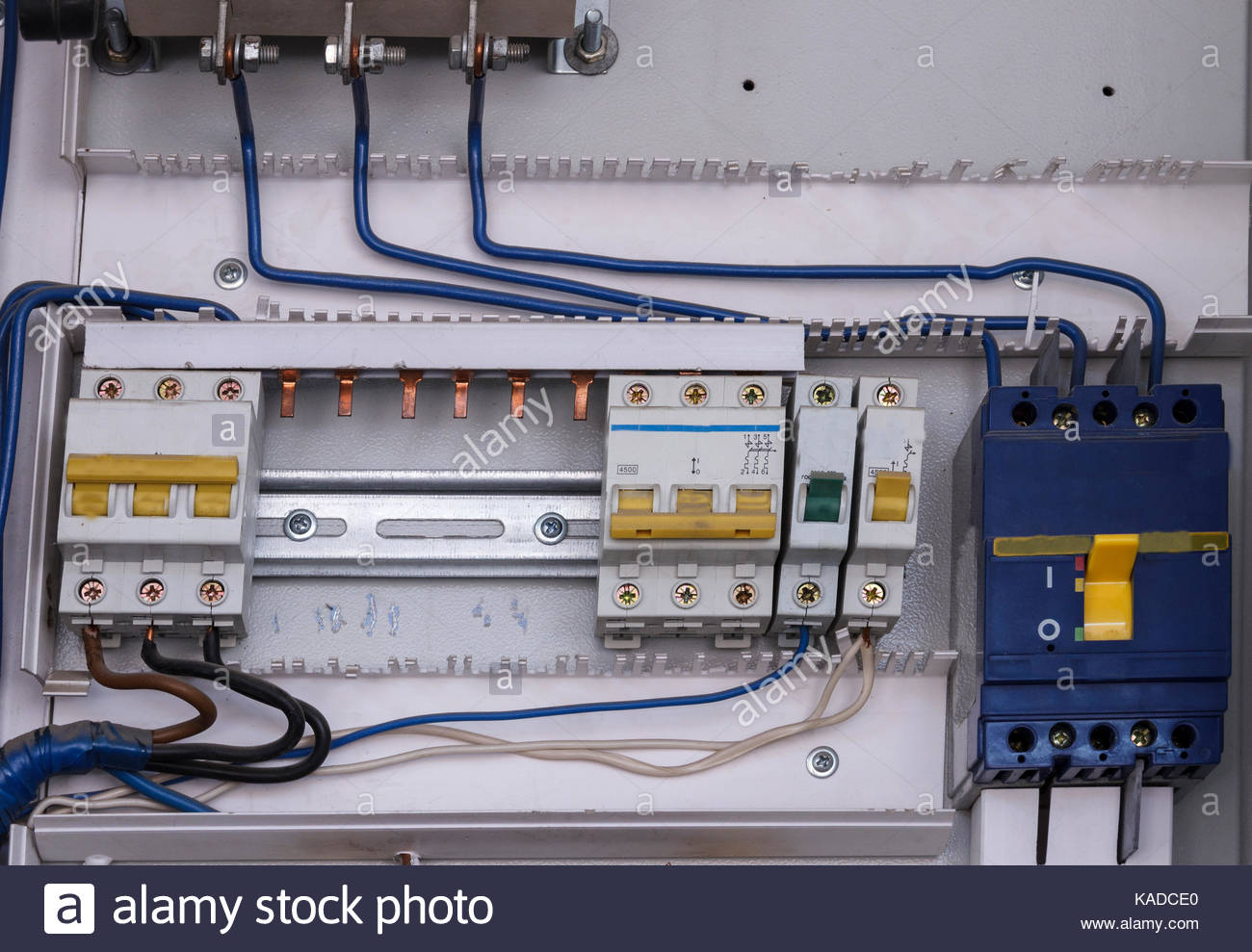 Electrical Panel Circuit Breakers Stock Photos Wiring Motor Breaker Control With For Electric During Mantenance Image