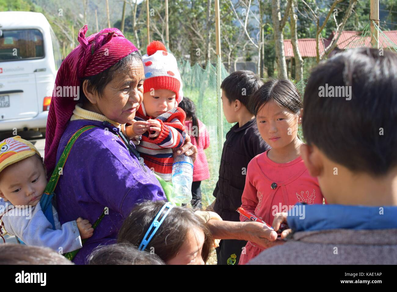 Ha Giang, Vietnam - November 08, 2018: Unidentified group of children wearing Hmong traditional new year clothe, Stock Photo