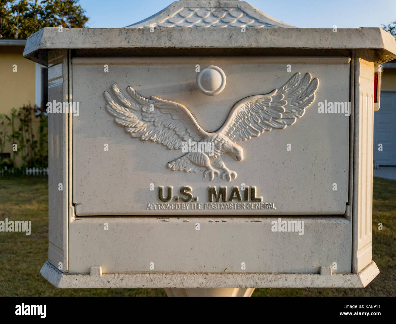 Close up shoot of a mailbox with eagle symbol, photo taken at Temple City, Los Angeles, California, United States - Stock Image