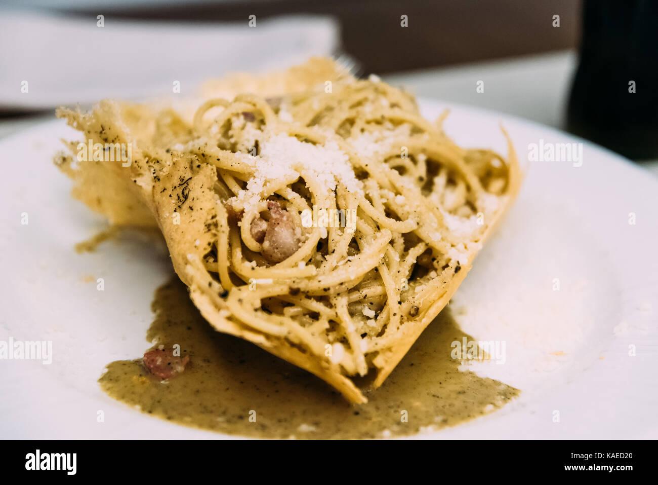 Spaghetti pasta with cheese - Stock Image