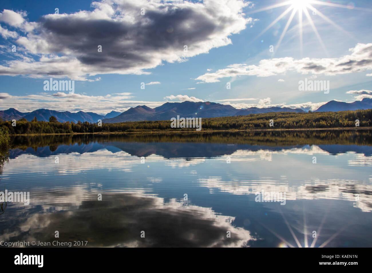 Peaceful reflection on Otter Lake - Stock Image