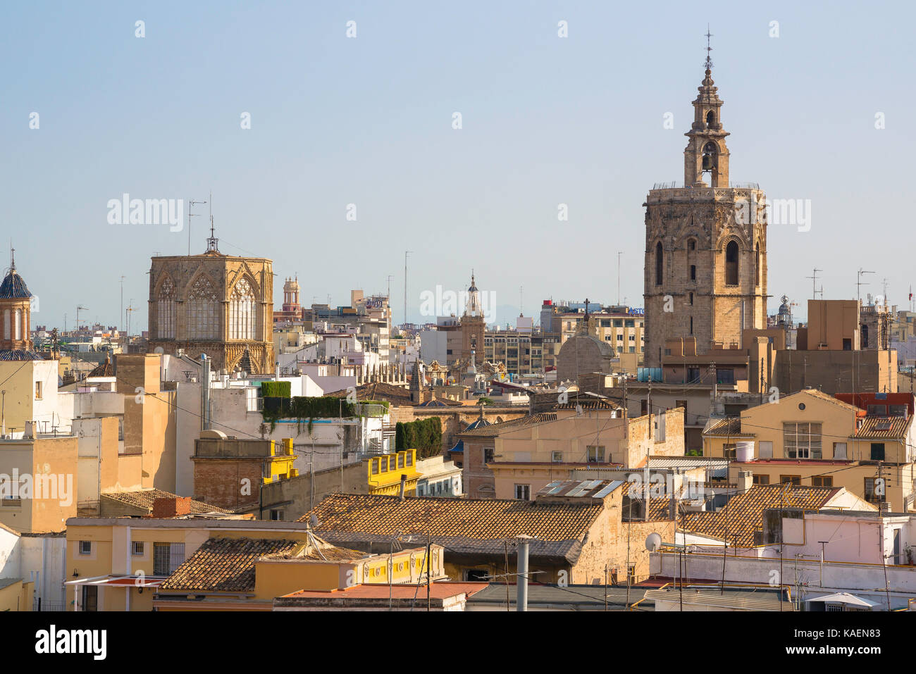 Valencia Spain city, view across the rooftops of the old town Barrio del Carmen area of Valencia with the cathedral towers visible on the skyline. Stock Photo