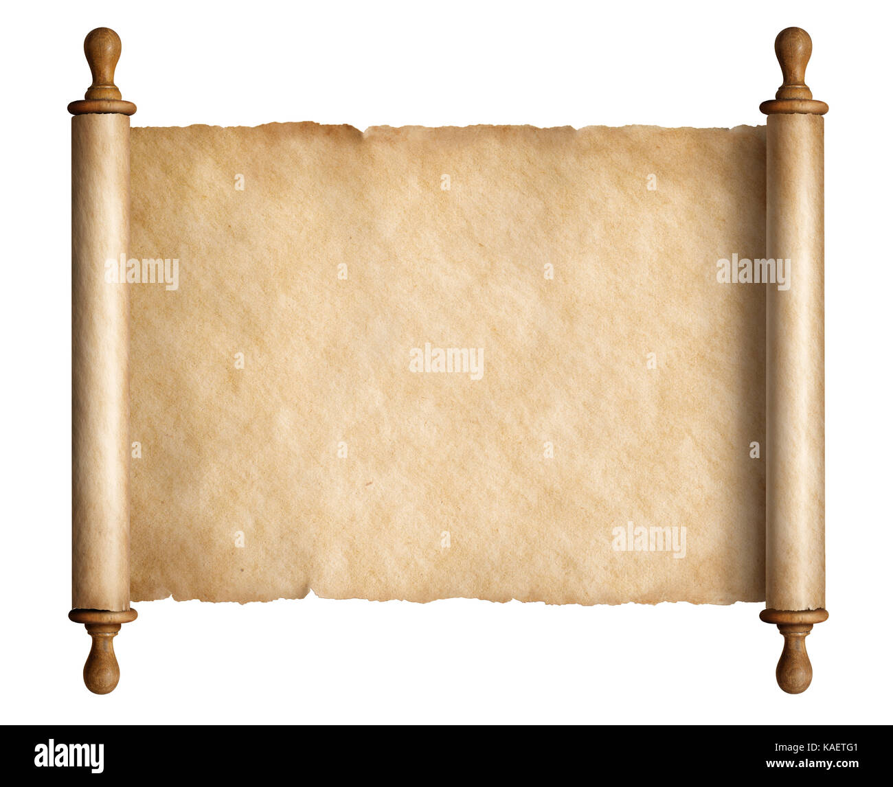 Ancient scroll parchment with wooden handles isolated 3d ...