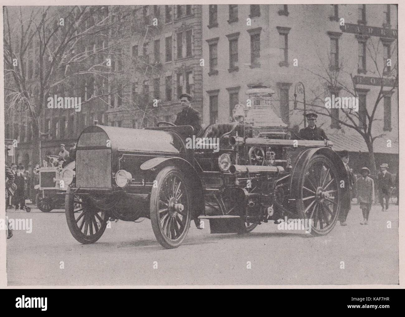Motor-Propelled fire Engine. The first motor apparatus, Engine No. 58, was placed in service March 21, 1911. Its efficiency has… Stock Photo