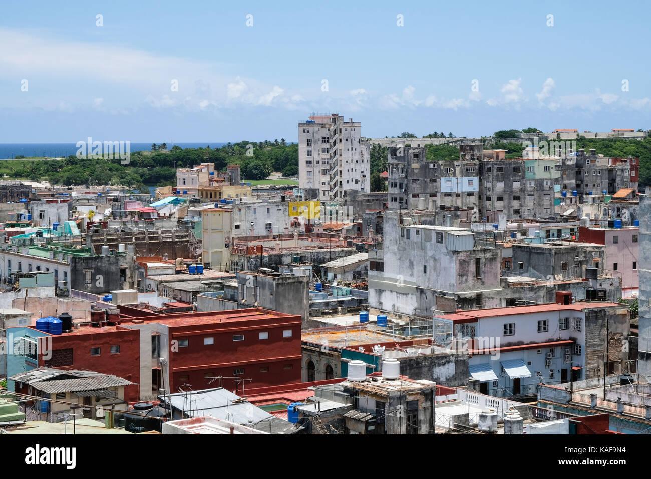 The view over the rooftops of Centro Habana and Habana Vieja in Havana, Cuba. - Stock Image