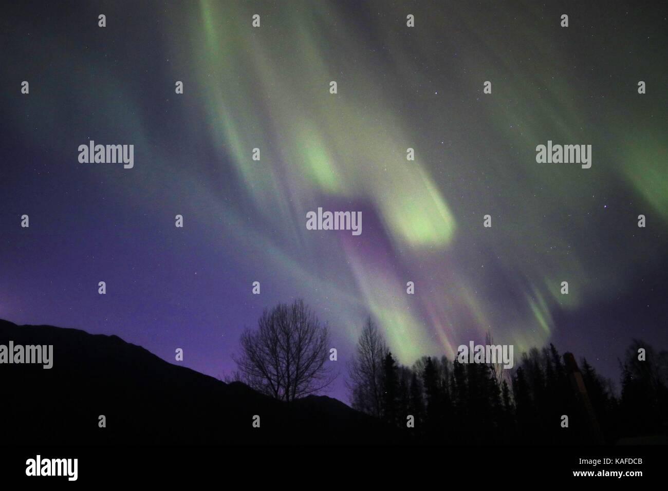 Aurora Borealis lights up the night sky - Stock Image