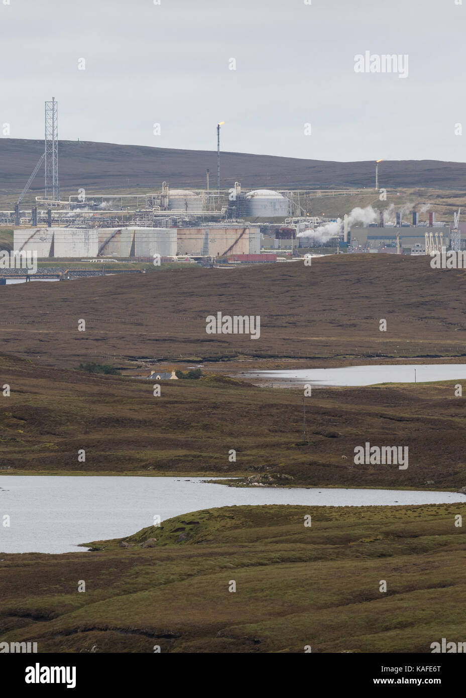 Sullom Voe Oil Terminal, Shetland Islands, Scotland, UK - Stock Image