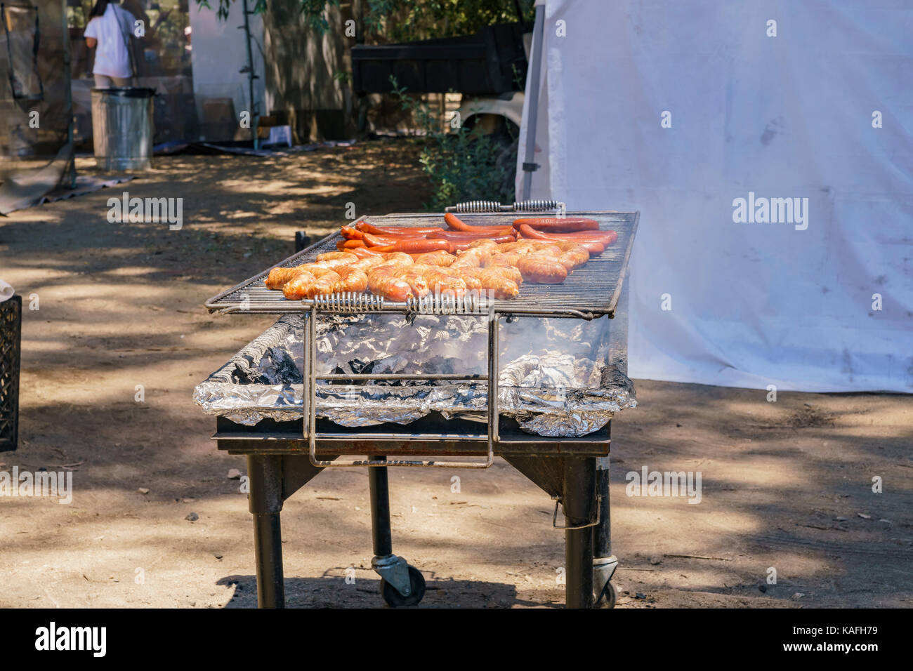Grill Sausage of Lavender Festival of 123 Farm at San Bernardino, Los Angeles County, United States - Stock Image