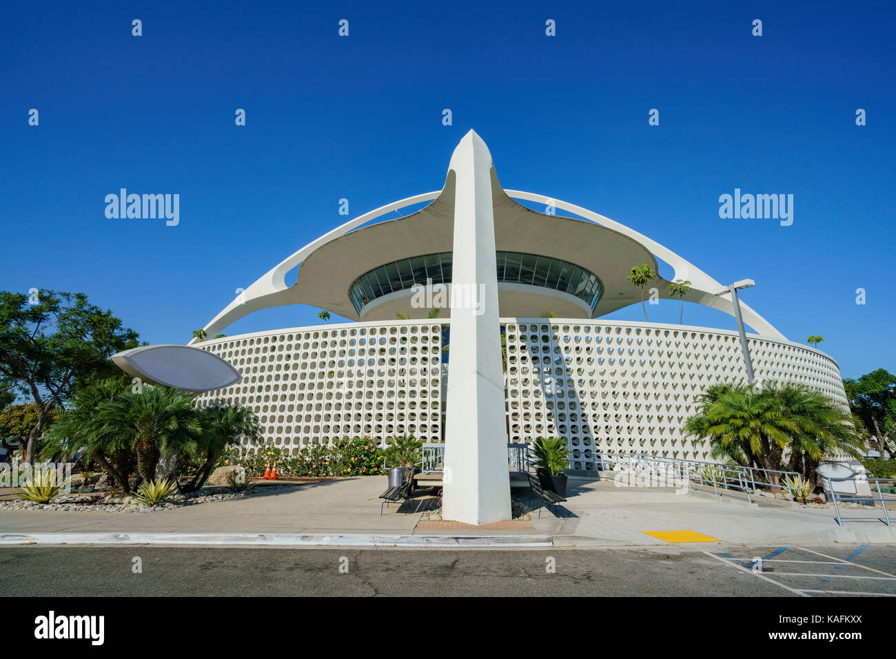 Exterior view of LAX Theme Building on morning at Los Angeles, California, United States - Stock Image