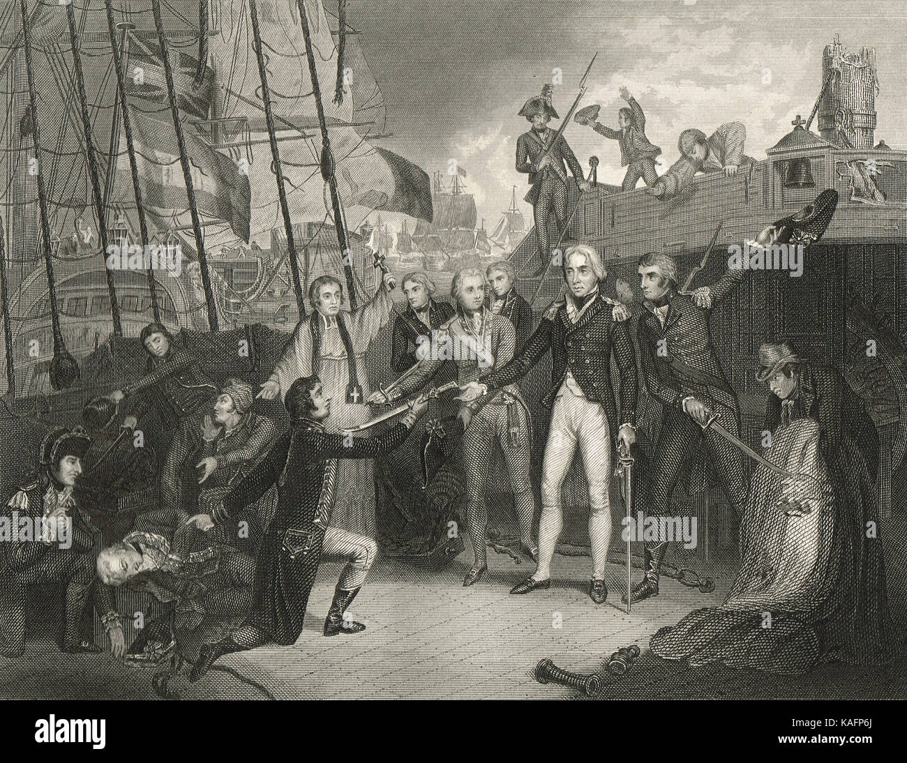 Horatio Nelson, accepting the surrender, receiving the sword of the Spanish captain of The San Josef, Battle of Cape St Vincent, 1797 Stock Photo