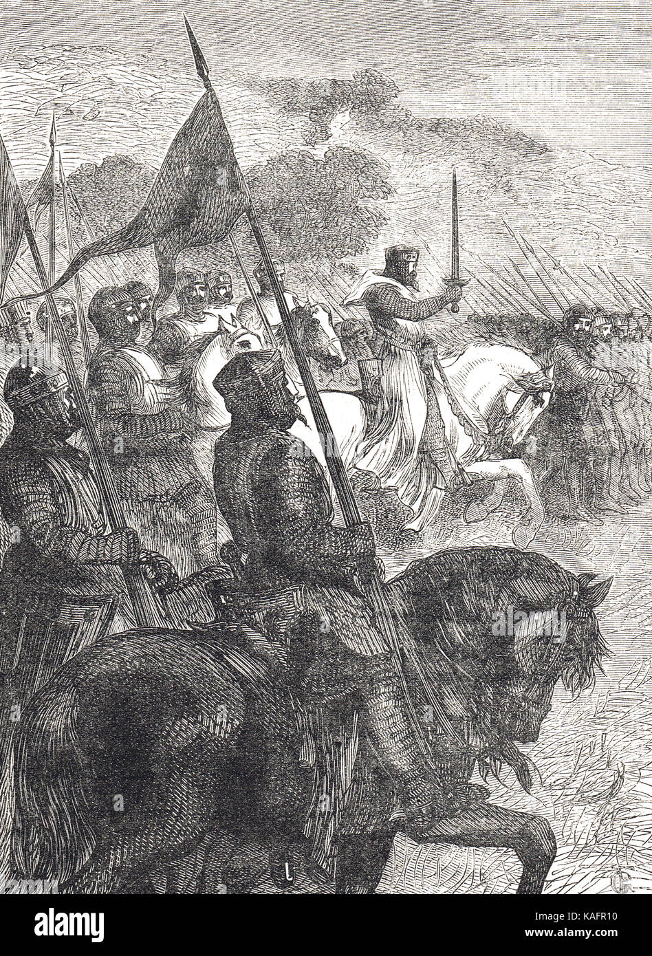 Thomas à Becket  at the head of seven hundred knights, Toulouse campaign of 1159 - Stock Image