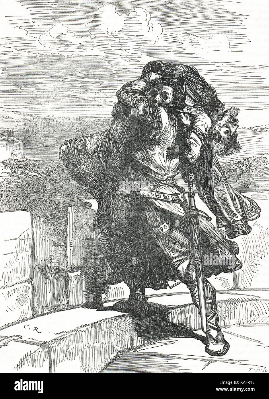 Death of Conan Pilatus at Rouen castle,1090 - Stock Image